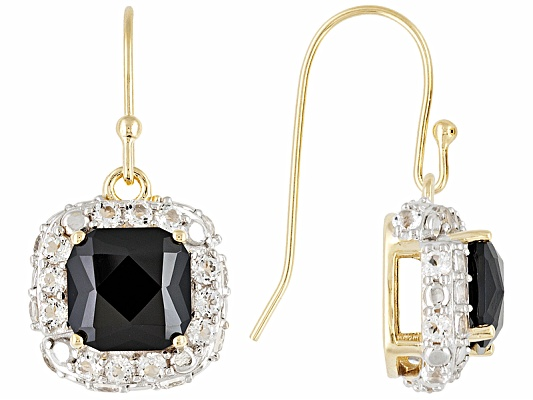 Stratify(Tm) 8.00ctw Cushion Black Spinel & 1.88ctw White Topaz 18k Yg Over S/S Earrings Eav ...