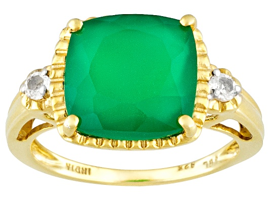 Stratify(Tm) 4.38ctw Cushion And Round Green Onyx And White Topaz 18k Yg Over S/S Ring ...