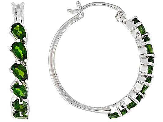 3.24ctw Pear Shape Russian Chrome Diopside Sterling Silver Hoop Earrings