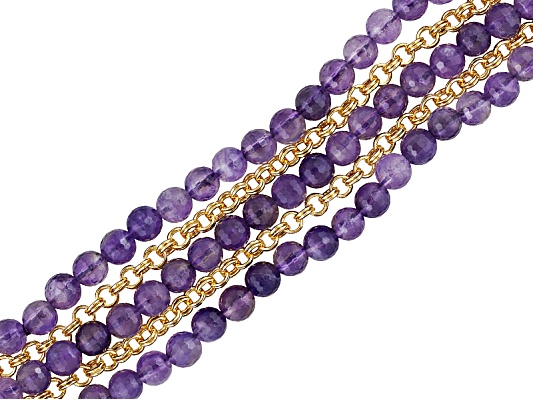 Moda Di Pietra (Tm) 87.29ctw Amethyst Bead With Black Agate & 18k Yg Over Bronze ...