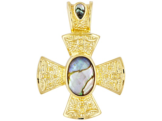 Moda Di Pietra (Tm) Abalone & Clear Quartz Doublet 18k Yg Over Bronze Cross Pendant ...