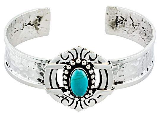 Artisan Collection Of Taxco(Tm) Oval Turquoise Sterling Silver Scroll Design Cuff Bracelet Erv ...