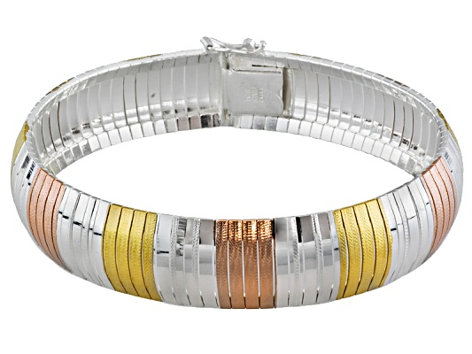 Sterling Silver And 18k Rose Gold And Yellow Gold Over Sterling Silver Bracelet