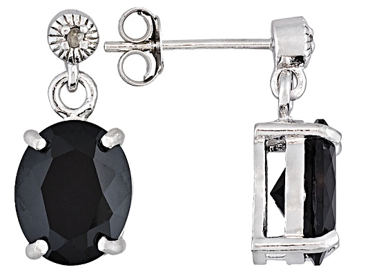 4.60ctw Oval Black Spinel With Round White Diamond Accent S/S Dangle Earrings