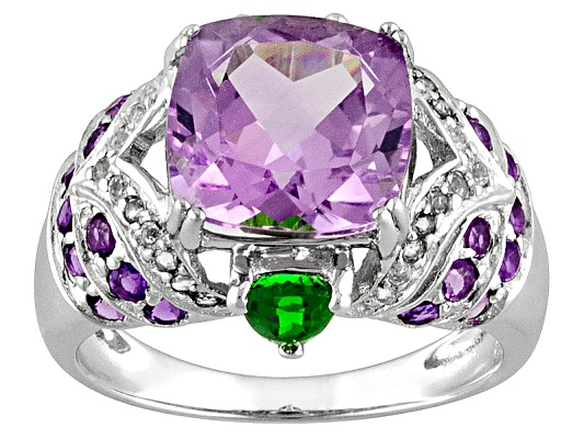 5.71ctw Rose De France Amethyst, African Amethyst, Chrome Diopside White Topaz Sterling Silver Ring