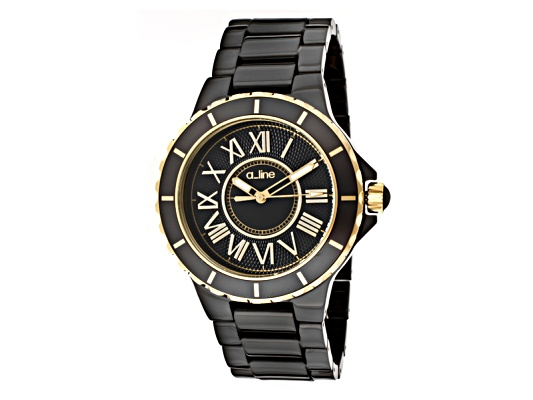A_Line Women's Marina Black Dial Gold Accents Black Ceramic