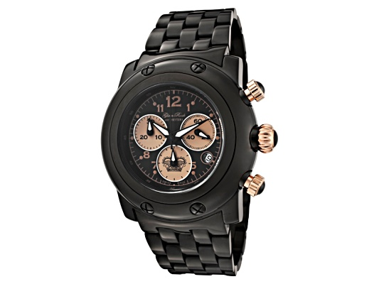 Glamrock Women's Miami Chronograph Black Dial Black Ion Plated Ss