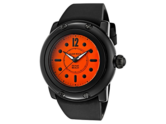Glamrock Women's Miami Beach Bright Orange Dial Black Silicone