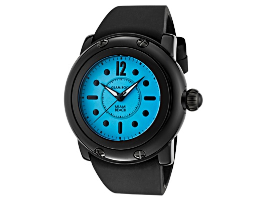 Glamrock Women's Miami Beach Light Blue Dial Black Silicone