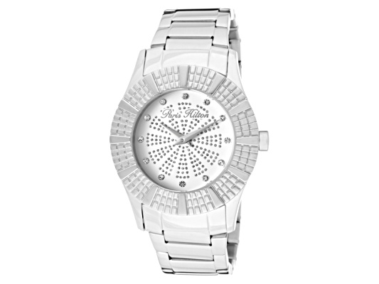 Paris Hilton Women's Heiress White Crystal White/Silver Glitter Dial Two Tone