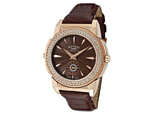 Rotary Women's Evolution Tz2 Reversible White Crystal Brown Leather