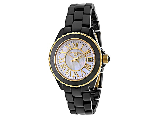 Swiss Legend Women's Karamica Black High Tech Ceramic Yellow Gold Tone Accent