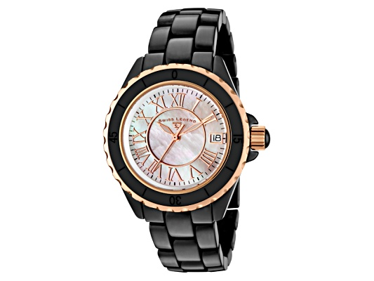 Swiss Legend Women's Karamica Black High Tech Ceramic Rose Gold Tone Accent