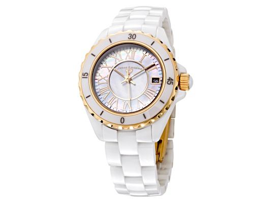 Swiss Legend Women's Karamica White High Tech Ceramic Yellow Gold Tone Accent