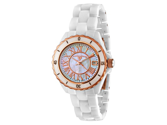Swiss Legend Women's Karamica White High Tech Ceramic Rose Gold Tone Accent