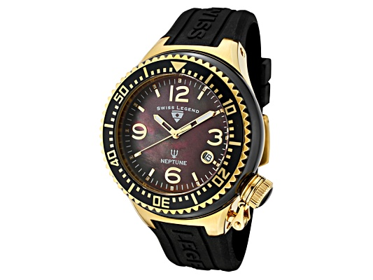 Swiss Legend Neptune Ceramic (44 Mm) Black Mother Of Pearl Dial Gold Tone Black Silicone ...