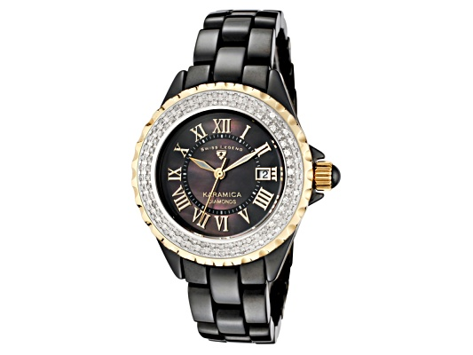 Swiss Legend Women's Karamica White Diamond (0.797 Ctw) Black Mop Dial Black High-tech Ceramic