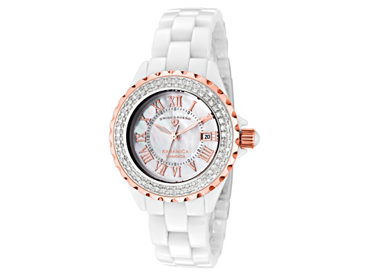 Swiss Legend Women's Karamica White Diamond (0.797 Ctw) White Mop Dial White High-tech Ceramic