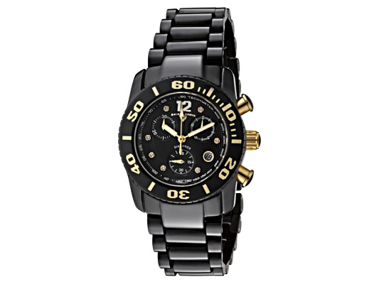 Swiss Legend Women's Commander White Diamond (0.064 Ctw) Chronograph Black High Grade Ceramic