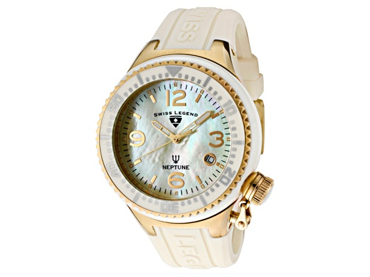 Swiss Legend Neptune Ceramic (44 Mm) Yellow Mother Of Pearl Dial Beige Ceramic Beige Silicone ...