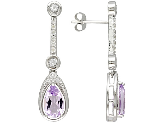 2.60ctw Pear Shape Rose De France Amethyst & 1.00ctw Round White Topaz S/S Dangle Earrings ...