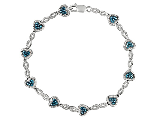 Blue Velvet Diamond(Tm) & White Diamond .50ctw Rhodium Over Sterling Silver Heart Bracelet Erv ...