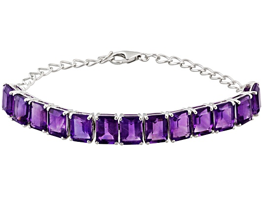 19.50ctw Emerald Cut African Amethyst S/S Adjustable Bracelet