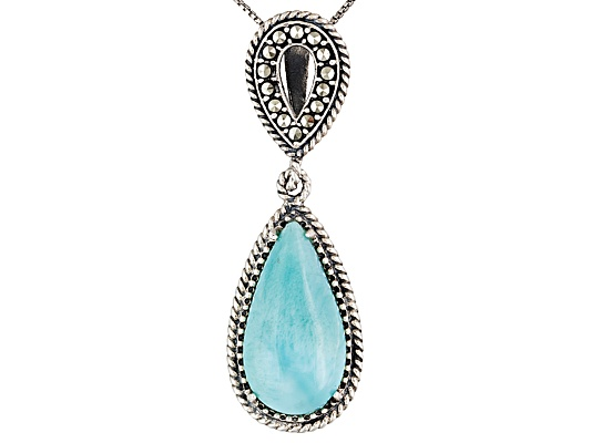 Tillya Treasures(Tm) Cabochon Larimar And Marcasite S/S Pendant With Chain Erv $126.00