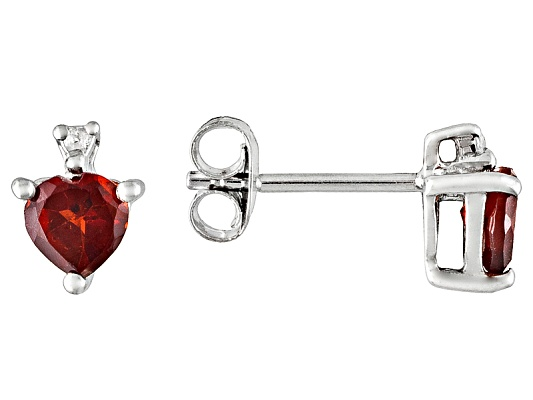 1.05ctw Heart Shape Vermelho Garnet (Tm) With Round White Topaz Accent Stud Style S/S Earrings ...