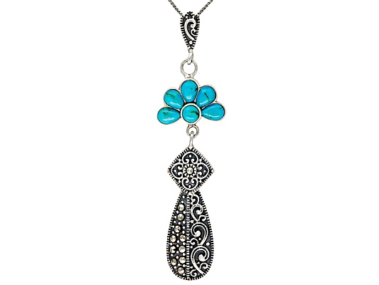 Tillya Treasures(Tm)Turquoise And Marcasite Sterling Silver Pendant With Chain Erv $105.00