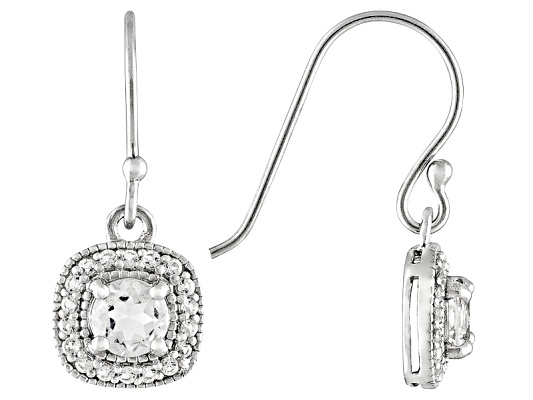 1.16ctw Round White Topaz Centers With .36ctw Round White Topaz S/S Dangle Earrings