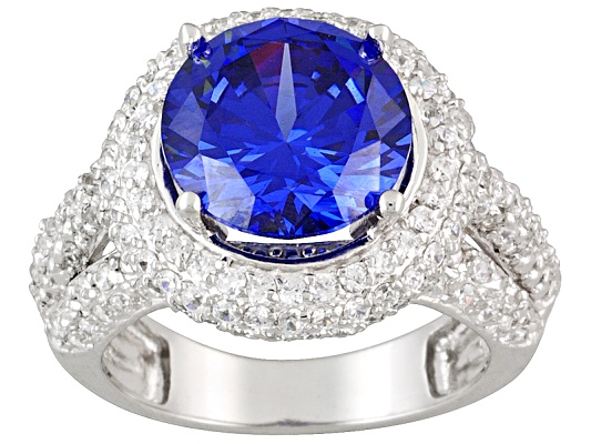 Bella Luce(R) Esotica (Tm) 8.83ctw Tanzanite Color Rhodium Plated Sterling Silver Ring