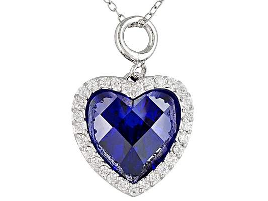 Bella Luce(R) Esotica(Tm) 19.07ctw Tanzanite Color Rhodium Plated Sterling Silver Pendant With ...