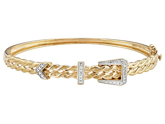 Emulous (Tm) Diamond .10ct Round 18k Yellow Gold Over Brass Belt Buckle Bangle