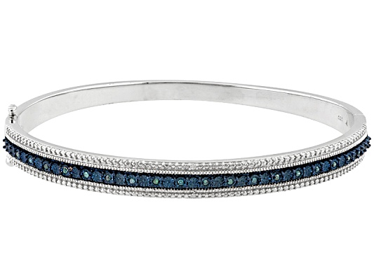 Monture Diamond Collection(Tm) .10ctw White & Blue Velvet Diamond(Tm) Rhodium Over S/S Bangle