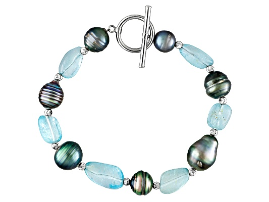 8-11mm Cultured Tahitian Pearl With Blue Topaz Sterling Silver 8 Inch Bracelet