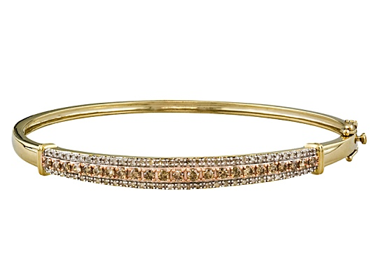 Engild(Tm) White & Rose D Champ Diamond(Tm) 1.25ctw Round Yellow Aureate(Tm) Bangle Eav $750.00
