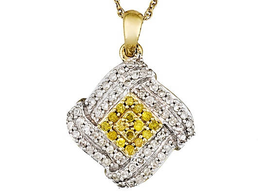 Engild(Tm) Sunglo! Yellow Diamond(Tm) & Wht Dia .50ctw Yellow Aureate(Tm)Pendant W/Chain Eav ...