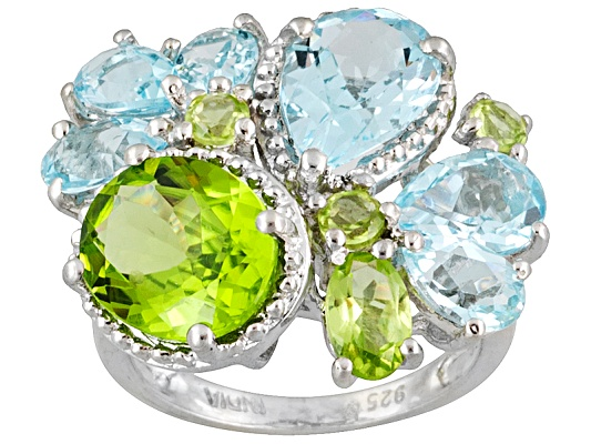 3.19ctw Manchurian Peridot (Tm) And 4.50ctw Glacier Topaz (Tm) Sterling Silver Ring