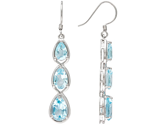 Glacier Topaz (Tm) 8.40ctw Pear Shape 3-stone Style Sterling Silver Dangle Earrings