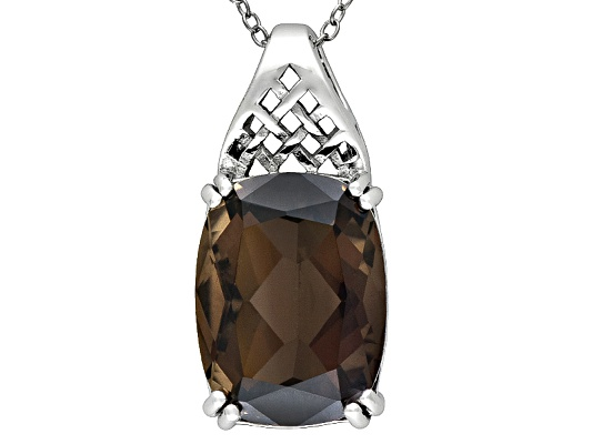 10.40ct Rectangular Cushion Smoky Quartz Solitaire Sterling Silver Pendant With Chain