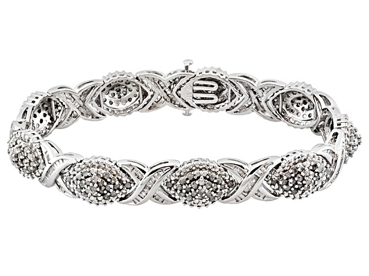 Diamond 3.00ctw Round & Tapered Baguette Rhodium Over Sterling Silver Bracelet Erv $800.00