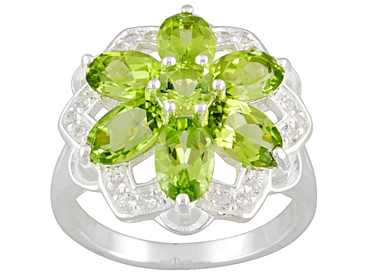 3.45ctw Manchurian Peridot (Tm) With White Topaz Accent Sterling Silver Ring