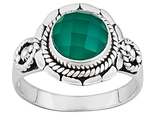 3.00ct Round Checkerboard Cut Green Onyx Sterling Silver Ring Erv $93.00