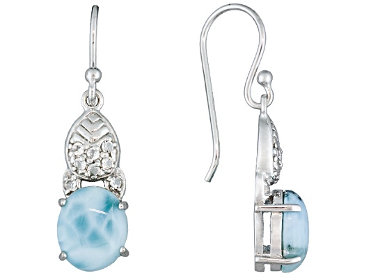 10.00ctw Oval Larimar With .36ctw Round White Topaz Sterling Silver Dangle Earrings