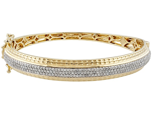 Pamela Mccoy Diamonds(Tm) 2.00ctw Round Diamond 14k Yellow Gold Over Sterling Silver Bangle