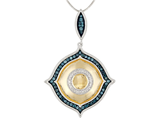 Pamela Mccoy Diamonds(Tm) 1.00ctw White & Blue Velvet Diamond(Tm) 14k Yg & Rhodium Over S/S ...