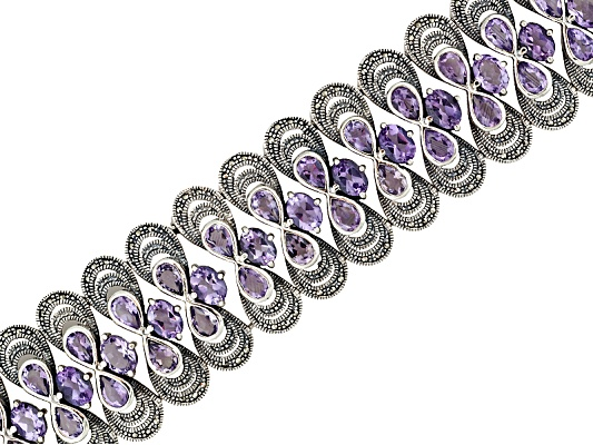 Tillya Treasures(Tm) 38.00ctw Pear Shape And Oval Brazilian Amethyst And Marcasite S/S Bracelet