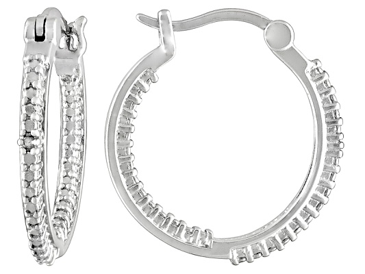 Diamond Accent Round Rhodium Over Sterling Silver Hoop Earrings