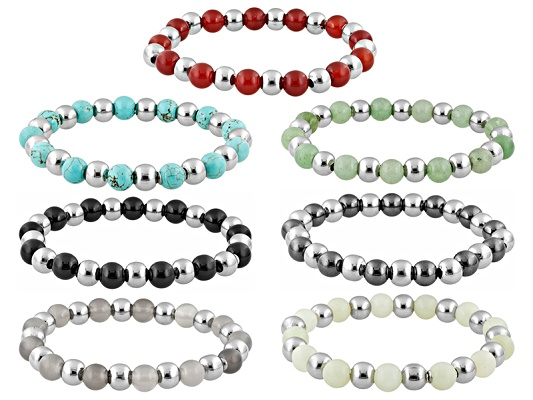 Sophisticated Steel(R) Bead Multi Color Gem Stainless Steel Stretch Bracelet Set Of 7 Erv ...